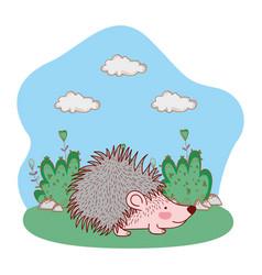 Porcupine outdoors landscape scenery cartoon vector
