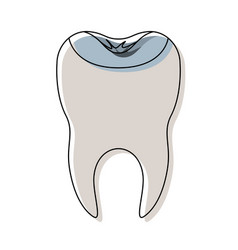 Restored tooth with root in watercolor silhouette vector