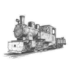 Retro steam locomotive and coal-car vector