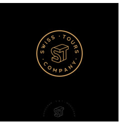 s t monogram stamp circle business vector image