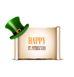 Saint patrick day card design green top hat and vector