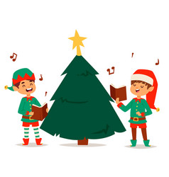 Santa claus elf kids cartoon elf helpers vector