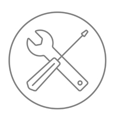 Screwdriver and wrench tools line icon vector image