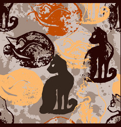 Seamless pattern with cat stamps vector