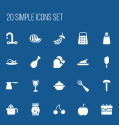 Set of 20 editable meal icons includes symbols vector
