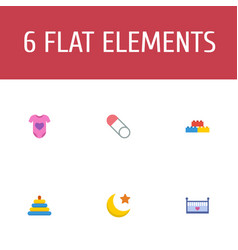 Set of infant icons flat style symbols with moon vector