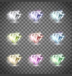 set of precious diamonds vector image