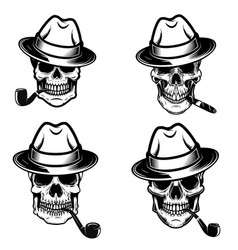 set of skulls of smokers design elements for logo vector image