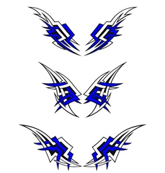 set wings tattoos in celtic style vector image