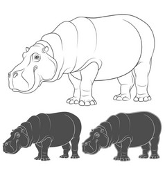 Set with a hippopotamus vector