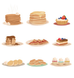 Set with various sweet desserts stack of pancakes vector