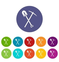 Shovel and pickaxe set icons vector