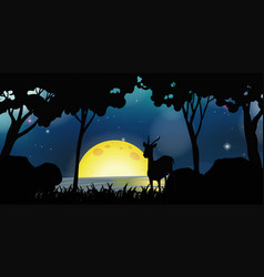 Silhouette scene with deer on fullmoon night vector