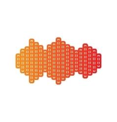 Sound waves icon Orange applique isolated vector image vector image