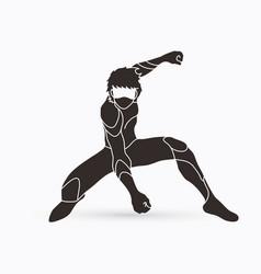 superhero landing action cartoon superhero man vector image
