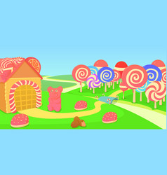 Sweets horizontal banner candies cartoon style vector