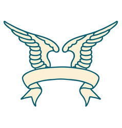 Tattoo with banner a wing vector