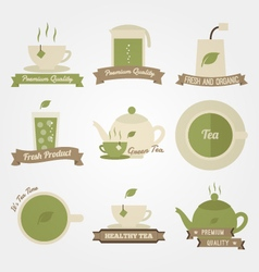 Tea flat and vintage label design vector image