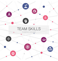 Team skills trendy web template with simple icons vector