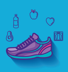 Tennis shoes with healthy lifestyle icons vector