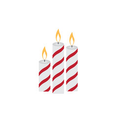 three christmas burning candles on a white vector image