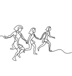 three runners - continuous line drawing vector image