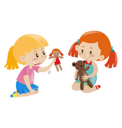 Two girls playing doll and teddy bear vector