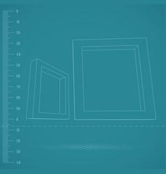 Two rectangular 3d frames blueprint vector
