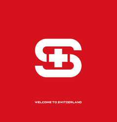 welcome to switzerland letter s with switzerland vector image