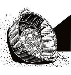 wicker basket leaning against the wall vector image