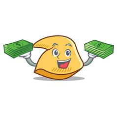 With money fortune cookie mascot cartoon vector