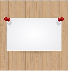 Wooden background with white note paper vector
