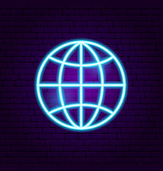 World globe neon sign vector