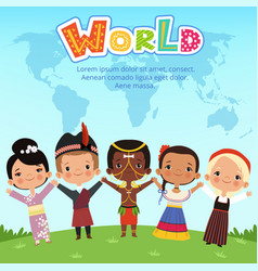 Worldwide kids of different nationalities standing vector