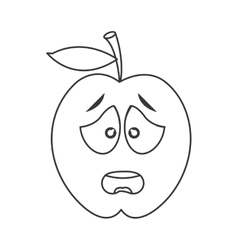 Worried apple cartoon icon vector