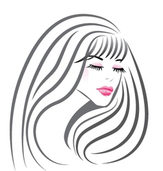 Beautiful girl face silhouette vector image