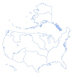 Contour map of usa with rivers vector