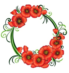 Floral frame with red poppies and green swirls vector image