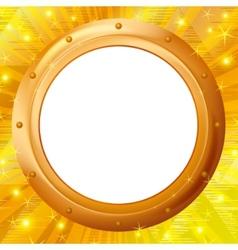 frame porthole on gold background vector image