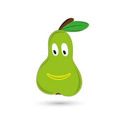 green funny and smiling pear with eyes and mouth vector image