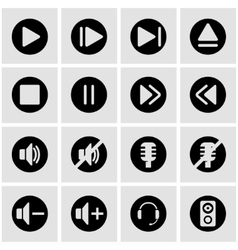 black sound icon set vector image vector image
