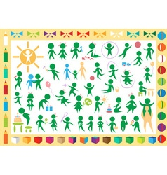 children and toys icons vector image