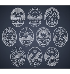 Mountain badges linear 2 white vector image