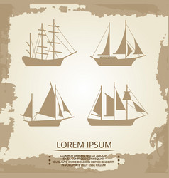 sailboat or ship icons on vintage background vector image