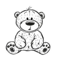 Drawing teddy bear vector