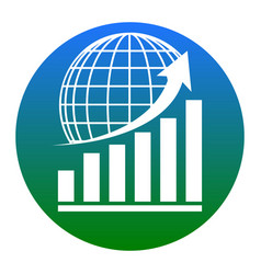 growing graph with earth white icon in vector image vector image