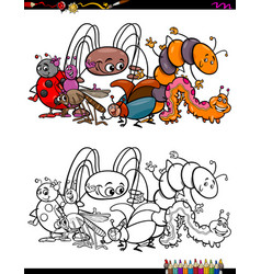 insects animal characters coloring book vector image vector image