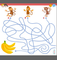 maze game with monkey characters vector image