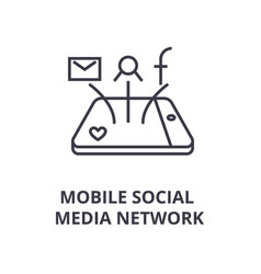 mobile social media network line icon outline vector image