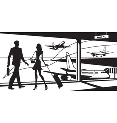 Passengers in airport waiting room vector image vector image
